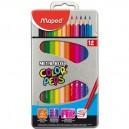 Цветни моливи 12 цв.  метална кутия MAPED